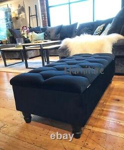 Ottoman Pouffe Wooden Chesterfield Velvet Footstool With Storage Box Black