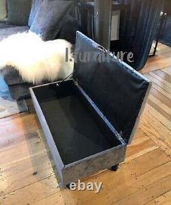 Ottoman Pouffe Wooden Chesterfield Velvet Footstool With Storage Grey