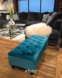 Ottoman Pouffe Wooden Chesterfield Velvet Footstool With Storage Teal Aqua