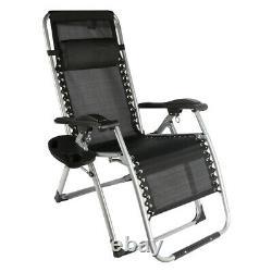 Outdoor Patio Adjustable Zero Gravity Recliner Chair Bed Headrest Pillow Black