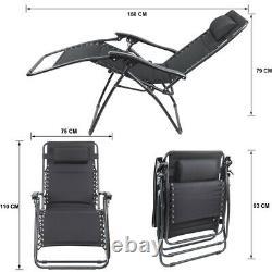 Oversized Zero Gravity Recliner XL Chair Outdoor Lounge Sun Garden Folding Patio