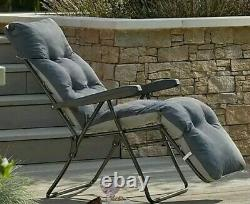 Padded Foldable Recliner Lounger Charcoal Sun Chair For Garden/camping
