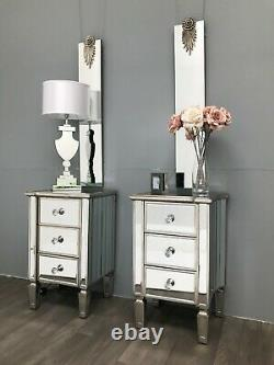 Pair Mirrored Bedside Tables Glass Cabinet Nightstand Bedroom Storage 3 Drawers