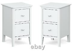 Pair White Bedside Cabinets / Scandi Retro Bedroom Tables Slim Narrow Set of 2