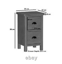 Pair of Oak Narrow Dovedale Bedside Cabinets Rustic Bedroom Side Tables