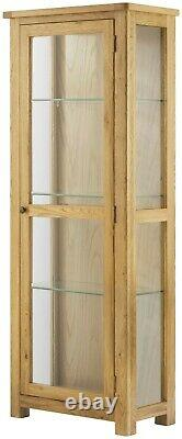Portland Display Cabinet Oak Fully Assembled