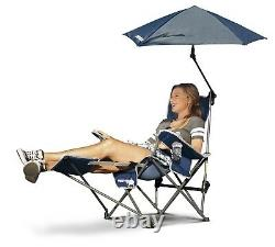 Reclining Camping Chair With Footrest Blue Umbrella Canopy Sunshade Folding NEW