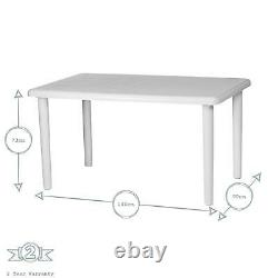Rectangular Garden Table Resol Olot Plastic Outdoor Bistro Dining 140x90cm White