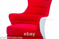 Red & White Lounge Club Arm Chair Futuristic Space Age Pilot Spacecraft Bendtsen
