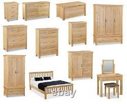 Regal Oak 3 Drawer Bedside Cabinet / Nightstand / Modern Oak Bedroom Furniture