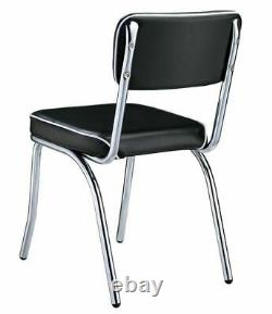 Retro Chrome Coke Dining Chair with Black Cushion Set of 2