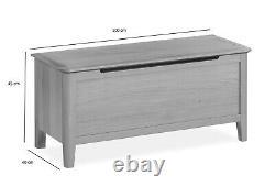 Retro Oak Blanket Box / Ottoman / Solid Wood Chest Storage Unit Trunk