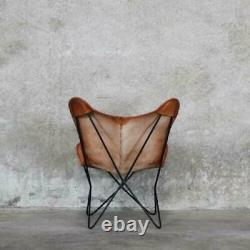 Retro Vintage Leather Butterfly Chair Ten leather Handmade Cover Only Cover
