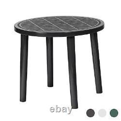 Round Garden Table Resol Tossa Plastic Outdoor Bistro Outside Dining 86cm Grey