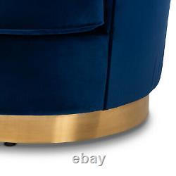 Royal Blue Velvet Fabric Upholstered Sofa Pleated Back Gold Base 2 Pillows