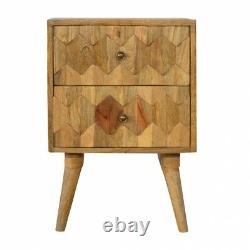 Scandinavian Mid Century Modern Solid Wood Hand Carved 2 Drawer Bedside Table
