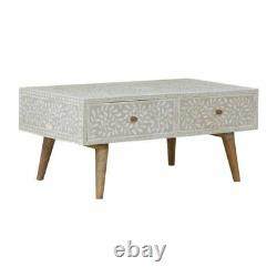 Scandinavian Style Floral Bone Inlay Design Coffee Table Double Side Drawers