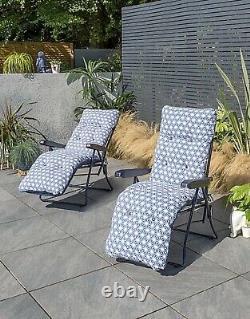 Set Of 2 Padded Sun Loungers Outdoor Cushion Deck Chair Garden Recliner Seating