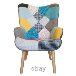 Set of 2 Fabric Patchwork Armchair Cover Sofa Chair Footstool Dining Chairs