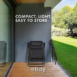 Set of 2 Heavy Duty Textoline Zero Gravity Chairs Garden Outdoor Sun Loungers