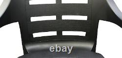 Set x 4 Strong Plastic Patio Garden Chairs Stackable Outdoor Chairs & Arms Black