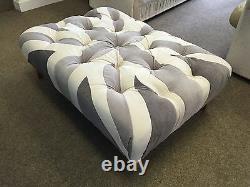 Shades of Grey Small Union Jack Footstool Pouffe Velvet Wood Feet British Made