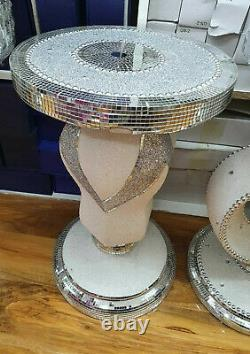 Silver Crushed Mirrored Table Stand Mosaic Romany Bling 60cm Home Decor