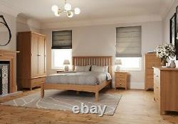 Small Oak Bedside Table Extra Slim 2 Drawer Cabinet Narrow 35cm Bedroom Unit