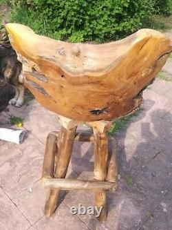 Teak Root Bar Chair Swivel Seat Bar Man Cave Garden Solid Teak Root Unique