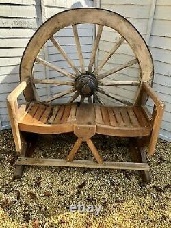 Teak Wagon Wheel Bench Reclaimed Authentic Wagon Wheel
