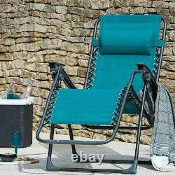 Teal Zero Gravity Lounger Garden Chair Outdoor Patio Sun New