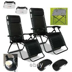 Textoline Gravity Recliner Garden Chair Sun Lounger Table Cup Holder Tray, Vr Box