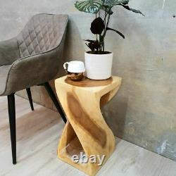 The Twist Raintree Wood Corner Side Table Planet Stand Clear Finish RTF y