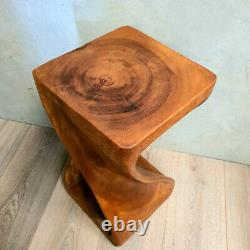 The Twist Raintree Wood Side Corner Table Planet Stand NB Finish RTF x