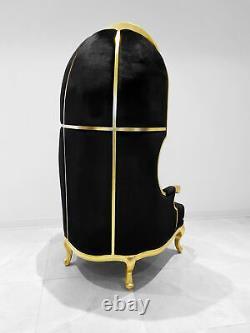Throne High Back Canopy Chair Ballon, Bonnet, Dome Chair Black Velvet & Gold
