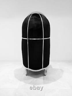 Throne High Back Canopy Chair Ballon, Bonnet, Dome Chair Black Velvet & Silver