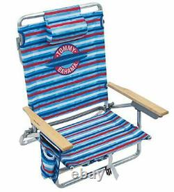 Tommy Bahama 5-Position Classic Lay Flat Folding Backpack Beach Chair Red Whi