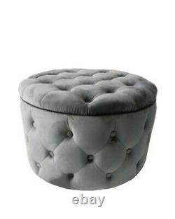 Velvet Buttoned Storage Stool Button Pouffe Tufted Quilted Living Room Grey