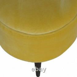 Velvet Pouffe Footstool Mustard