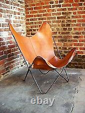 Vintage Handmade Classic Cover Cowhide Leather Butterfly Chair (Cover Only)