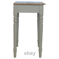 Vintage Style Hand Painted Grey Desk With Brass Cup Handle Drawer Solid Wood