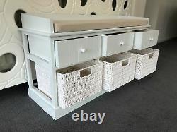 White Cream Storage Bench Window Seat Shoe Storage Unit Drawers Hallway Furnitur