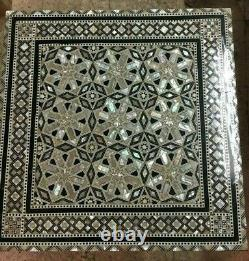 Wood End Table Inlaid Mother of Pearl (16)