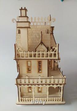 Wooden Dolls House Victorian gothic Dollhouse decorative craft wood Kit or built