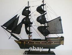 Wooden Weathered Model Pirate Ship Boat Sailing Vessel 20 Fully Assembled