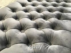 X Large Chesterfield Footstool / Coffee Table Bench In Plush Velvet 11 High