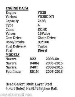 YD25DDTi 16V DOHC Fully Assembled Cylinder Head Kit for Nissan Navara Pathfinder